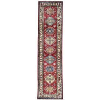 Red Super Kazak Geometric Design Runner Hand Knotted Rug (2'6 x 9'10)
