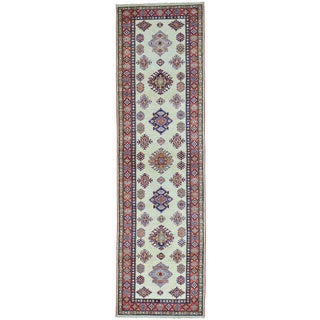 Ivory Super Kazak Runner Ivory Hand Knotted Pure Wool Rug (2'10 x 10')
