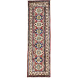 Red Tribal Design Kazak Runner Hand Knotted Oriental Rug (2'10 x 9'4)