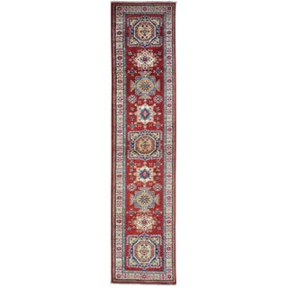 Red Super Kazak Pure Wool Red Hand Knotted Runner Rug (2'6 x 10'9)