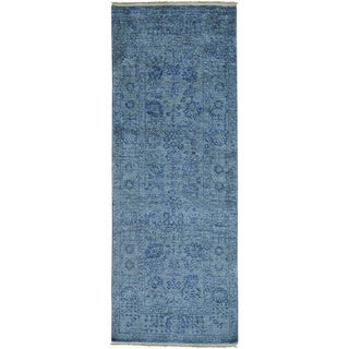 Grey Wool and Bamboo Silk Tabriz Tone on Tone Runner Rug (3'1 x 8'3)
