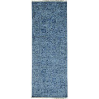 Grey Wool and Viscose from Bamboo Tabriz Tone on Tone Runner Rug (3'1 x 8'3)