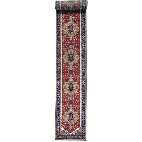 Red Serapi Heriz Wide Runner Pure Wool Hand Knotted Rug - 4' x 31'10
