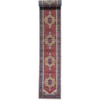 Red Serapi Heriz Wide Runner Pure Wool Hand Knotted Rug (4' x 31'10)