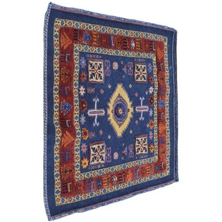 Blue Square Persian High and Low Raised Pile Hand Knotted Rug (2'9 x 3')