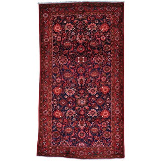 Blue Persian Mahal Wide Runner Pure Wool Hand Knotted Rug (5'4 x 9'8)