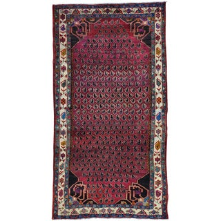 Burgundy Persian Hamadan with Paisley Design Wide Runner Oriental Rug (5' x 9'5)