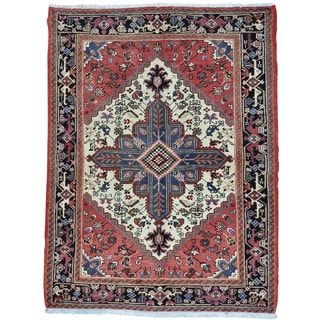 Red Hand Knotted Persian Heriz 100 Percent Wool Oriental Rug (5' x 6'6)