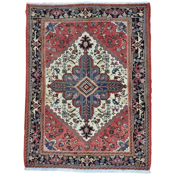 Shop Red Hand Knotted Persian Heriz 100 Percent Wool