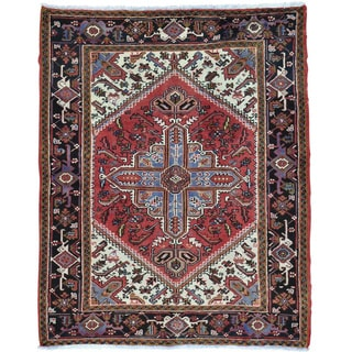 Red Persian Heriz Pure Wool Hand Knotted Oriental Rug (5'1 x 6'4)