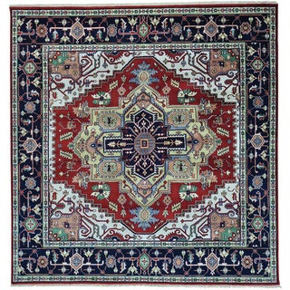 Red Hand Knotted Square Pure Wool Serapi Heriz Oriental Rug (7'10 x 8'2)