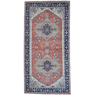 Red Gallery Size Pure Wool Serapi Heriz Hand Knotted Rug (9' x 17'10)