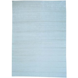 Beige Hand Loomed Tone on Tone Wool and Viscose from Bamboo Oriental Rug (10' x 14'1)