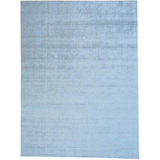 Grey Hand Loomed Tone on Tone Wool and Viscose from Bamboo Silk Oriental Rug (9' x 12')