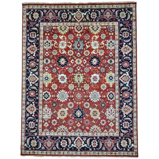 Red Hand Knotted Mahal All Over Design Pure Wool Oriental Rug (9' x 11'10)
