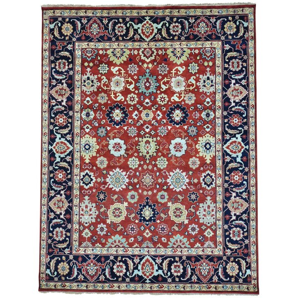 Red Hand Knotted Mahal All Over Design Pure Wool Oriental Rug