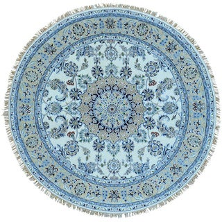 Ivory Nain 300 KPSI Round Wool and Silk Hand Knotted Oriental Rug (6' x 6')
