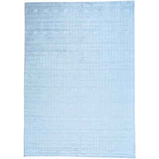 Blue Wool and Viscose from Bamboo Hand Loomed Tone on Tone Oriental Rug (10' x 14')