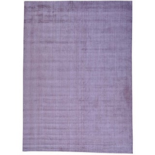 Purple Hand Loomed Purple Tone on Tone Wool and Viscose from Bamboo Silk Rug (10' x 14')