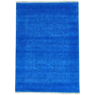 Blue Antiqued Heriz Tone on Tone Denim Blue Hand Knotted Rug (4'10 x 6'10)