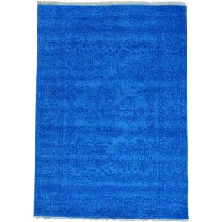 Blue Denim Blue Tone on Tone Antiqued Heriz Oriental Rug (4'10 x 6'10)