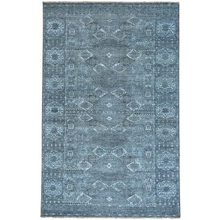Grey Silver Wash Mamluk Undyed Natural Wool Hand Knotted Rug (6' x 9'1)