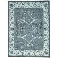 Grey Undyed Natural Wool Hand Knotted Oushak Oriental Rug - 9' x 12'1