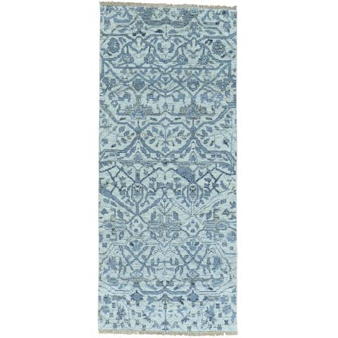 Ivory Hand Knotted Runner Oushak Undyed Natural Wool Oriental Rug