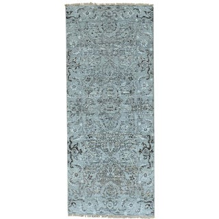 Grey Undyed Natural Wool Heriz Design Runner Hand Knotted Rug (2'7 x 6'3)