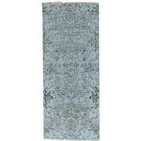 Grey Undyed Natural Wool Heriz Design Runner Hand Knotted Rug - 2'7 x 6'3