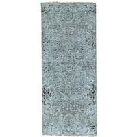 Grey Undyed Natural Wool Heriz Design Runner Hand Knotted Rug (2'7 x 6'3)