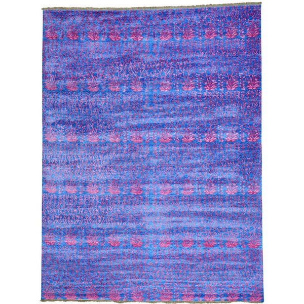 Blue Denim Blue Viscose from Bamboo Silk Modern Tone on Tone Oriental Rug (9' x 11'10)