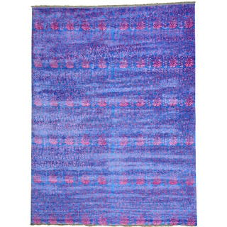 Blue Denim Blue Viscose from Bamboo Silk Modern Tone on Tone Oriental Rug (9' x 11'10)