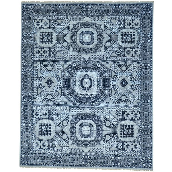 Blue Mamluk Design Hand Knotted Wool and Silk Oriental Rug - 8' x 10'1