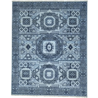 Blue Mamluk Design Hand Knotted Wool and Silk Oriental Rug (8' x 10'1)
