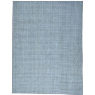 Grey Wool and Silk Modern Tone on Tone Hand Loomed Oriental Rug (9' x 12')