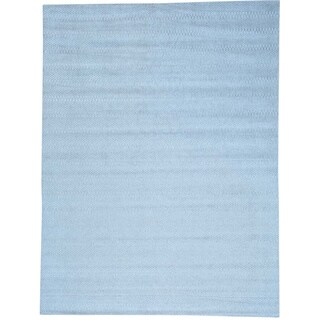 Blue Modern Hand Loomed Tone on Tone Wool and Bamboo Silk Rug (9' x 12')