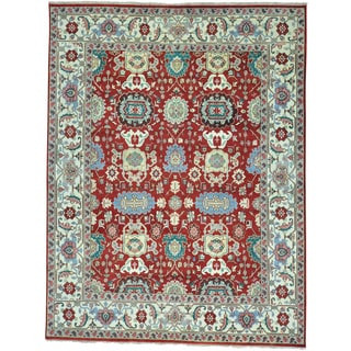 Red Mahal All Over Design Pure Wool Hand Knotted Oriental Rug (9'1 x 12')