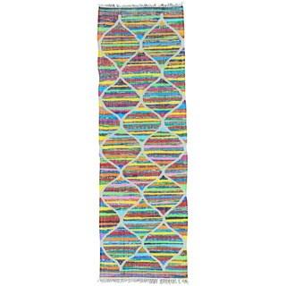 Hand Woven Kilim Cotton and Sari Silk Runner Oriental Rug (2'7 x 8')