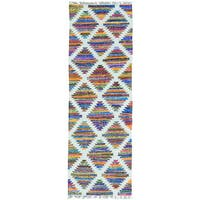 Multicolor Cotton and Sari Silk Geometric Design Kilim Runner Rug