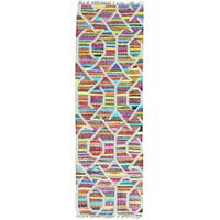 Multicolor Hand Woven Colorful Flat Weave Kilim Runner Oriental Rug