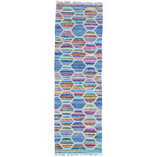 Multicolor Flat Weave Kilim Multicolored Runner Hand Woven Rug (2'7 x 8'2)
