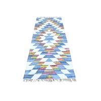 Multicolor Flat Weave Kilim Runner Cotton and Sari Silk Oriental Rug - Multi
