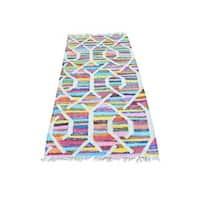 Multicolor Cotton and Sari Silk Kilim Runner Flat Weave Oriental Rug - Multi