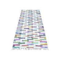Ivory Flat Weave Kilim Runner Cotton and Sari Silk Hand Woven Rug