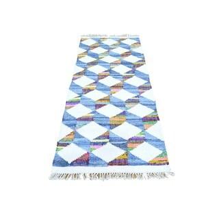 Multicolor Cotton and Sari Silk Runner Hand Woven Kilim Oriental Rug (2'7 x 6'4)