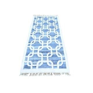 Blue Denim Jeans Kilim Runner Cotton and Sari Silk Oriental Rug (2'7 x 6'3)