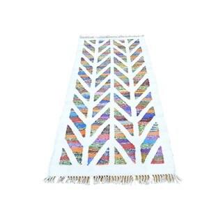 Multicolor Hand Woven Runner Kilim Cotton and Sari Silk Oriental Rug (2'7 x 6')