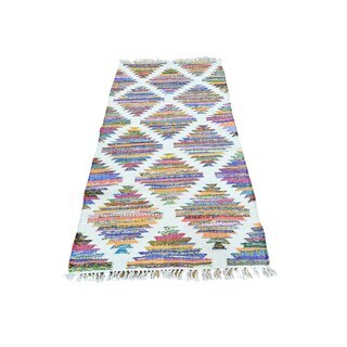 Multicolor Cotton and Sari Silk Runner Flat Weave Kilim Oriental Rug (2'7 x 5'10)