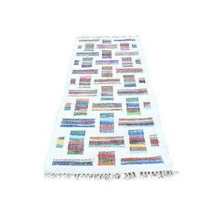 Ivory Runner Flat Weave Kilim Cotton and Sari Silk Hand Woven Rug (2'7 x 6')